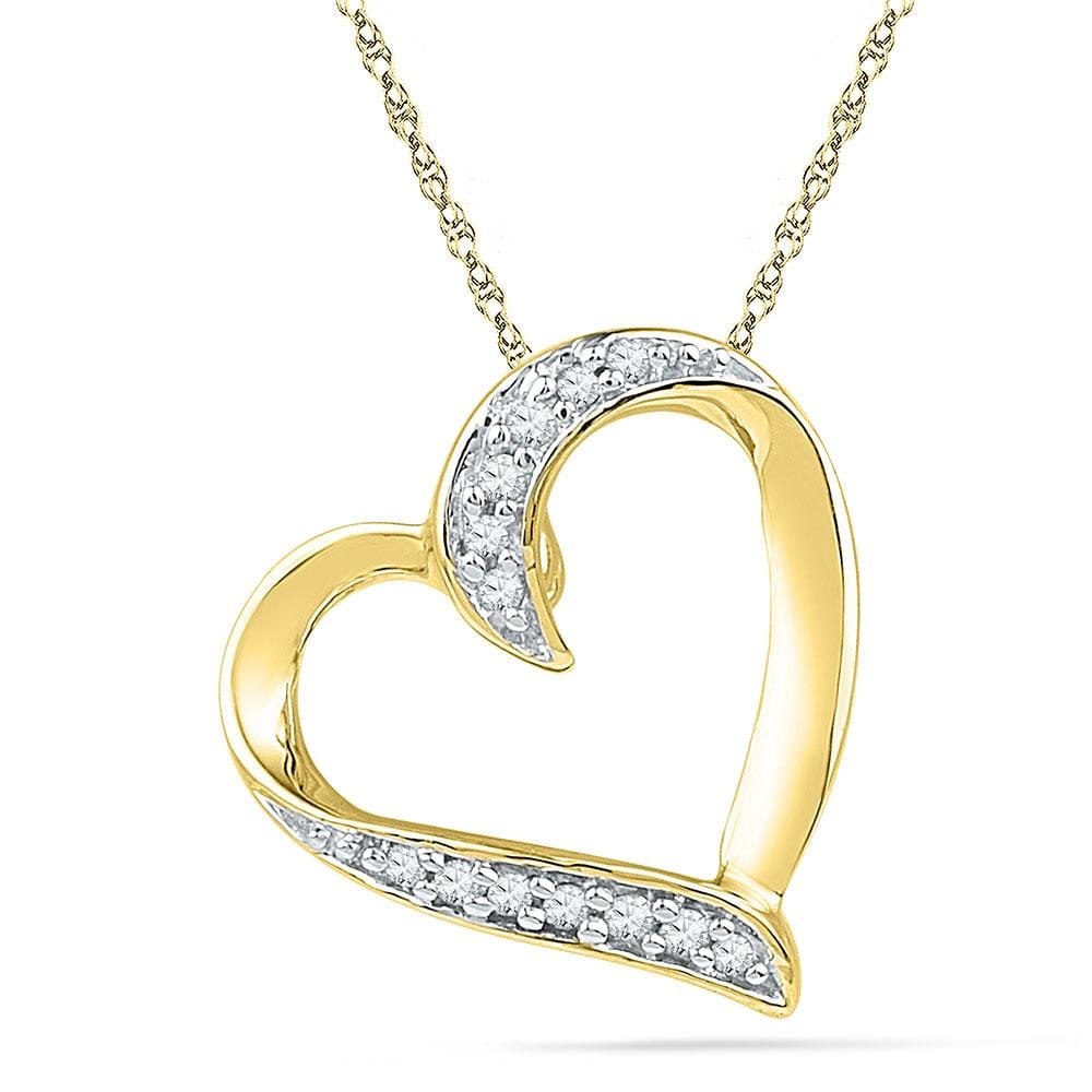 10kt Yellow Gold Womens Round Diamond Heart Pendant 1/20 Cttw