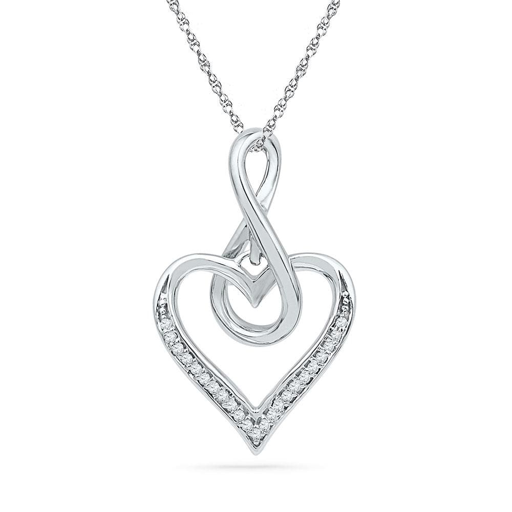 10kt White Gold Womens Round Diamond Infinity Heart Love Pendant 1/12 Cttw