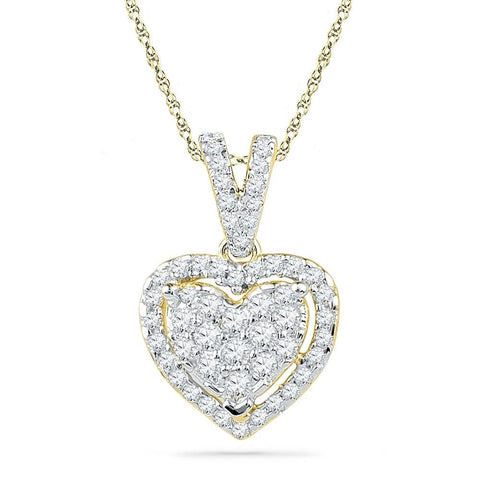 10kt Yellow Gold Womens Round Diamond Heart Love Pendant 1/5 Cttw