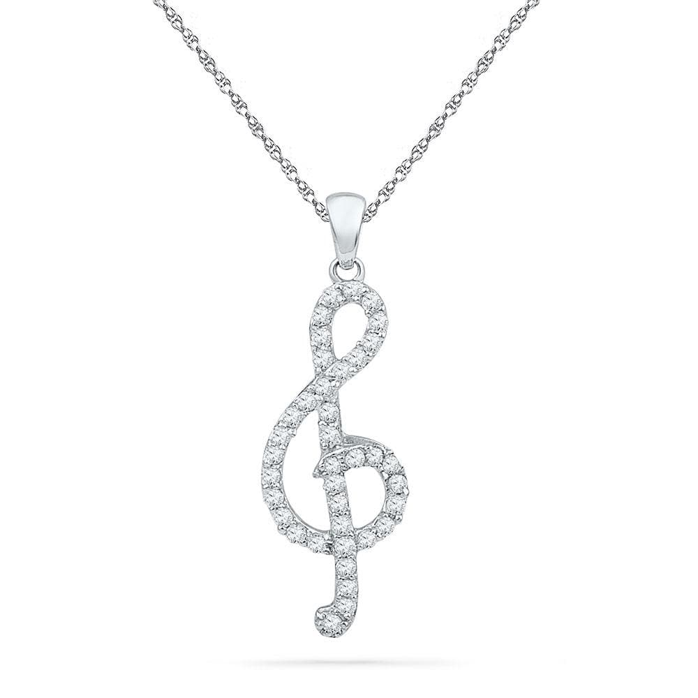 10kt White Gold Womens Round Diamond Treble Clef Music Pendant 1/3 Cttw