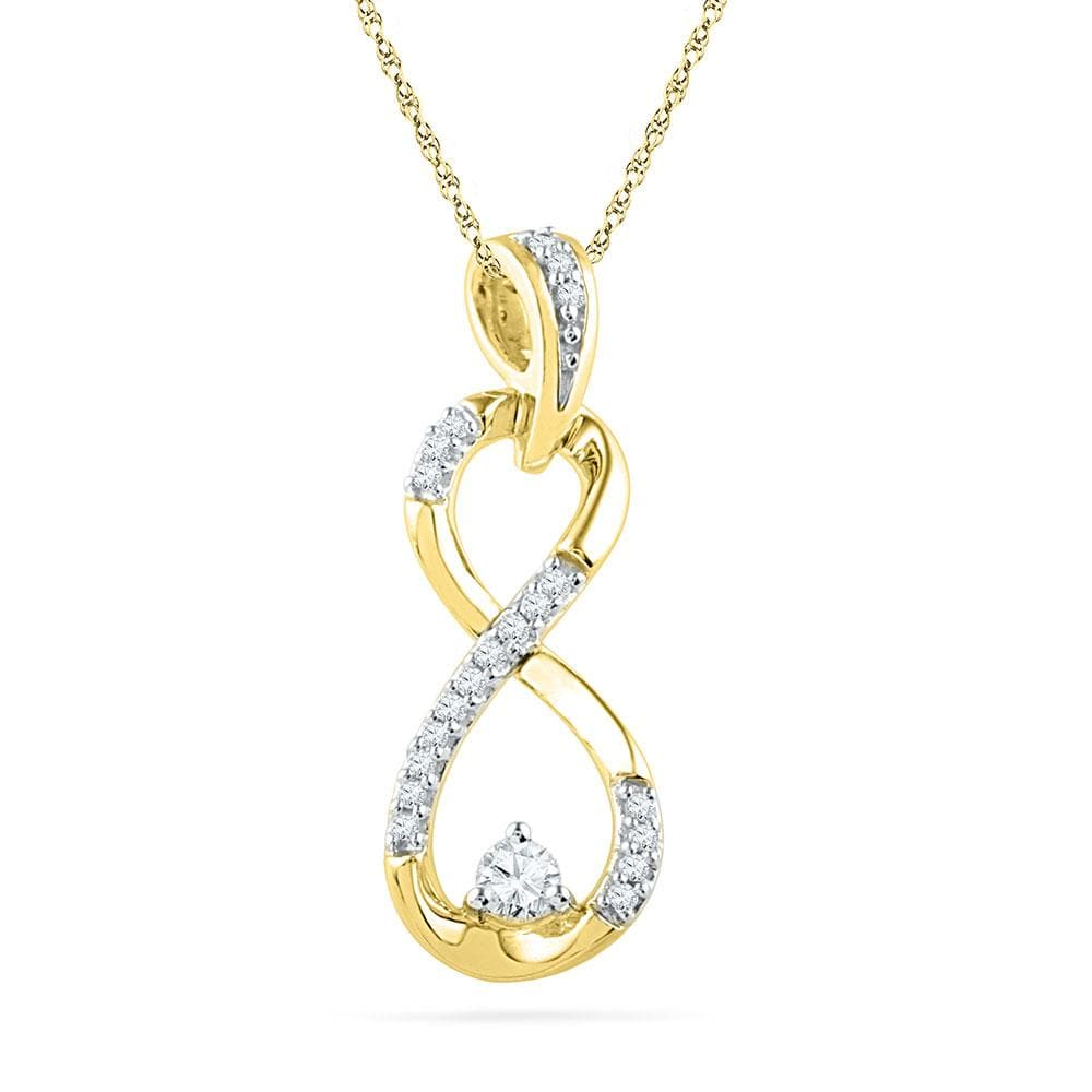 10kt Yellow Gold Womens Round Diamond Vertical Infinity Pendant 1/5 Cttw
