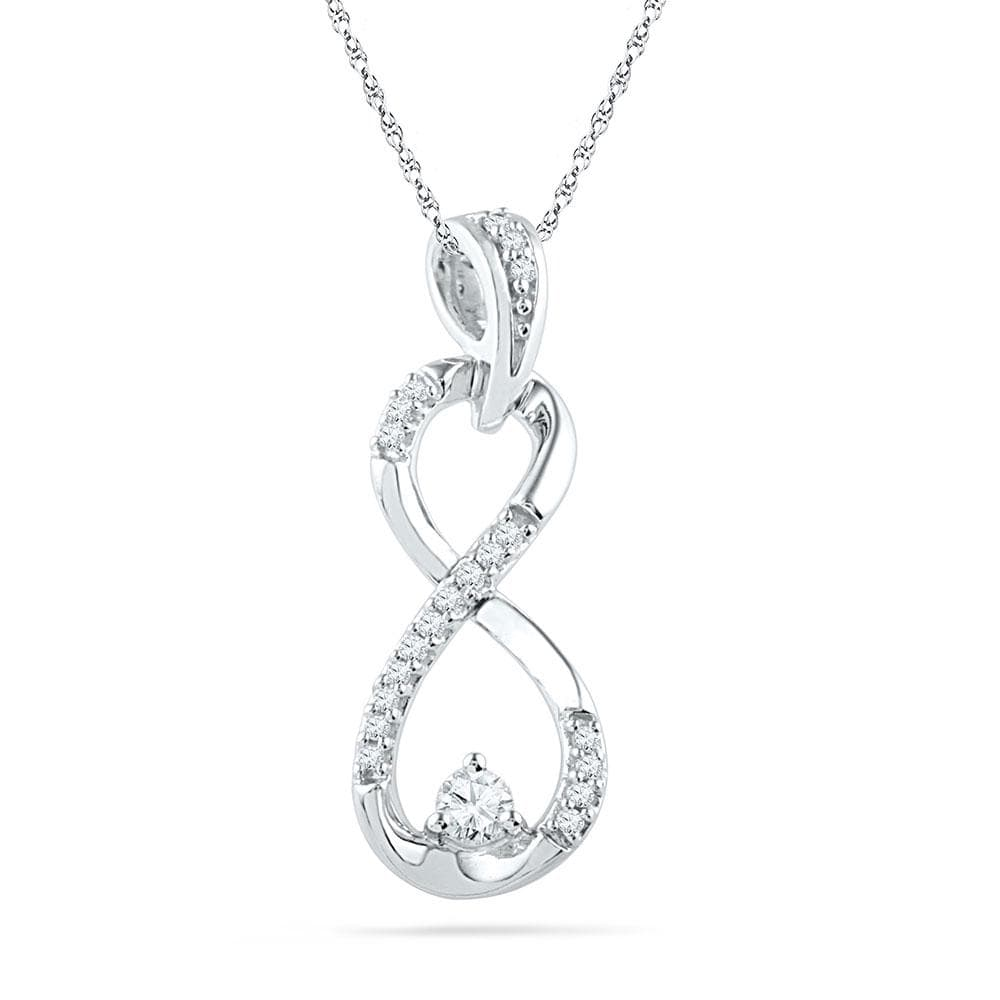 10kt White Gold Womens Round Diamond Vertical Infinity Pendant 1/5 Cttw