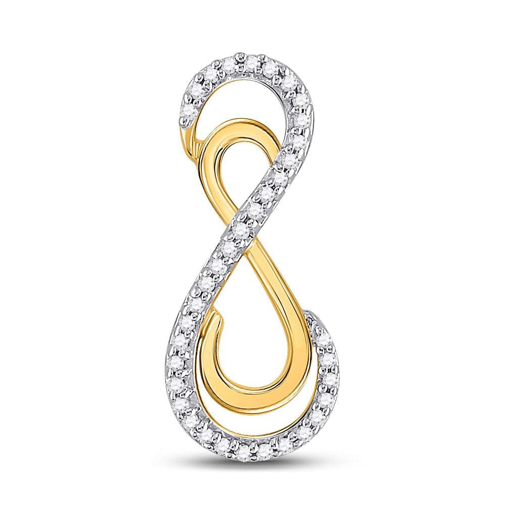 10kt Yellow Gold Womens Round Diamond Vertical Double Infinity Pendant 1/10 Cttw