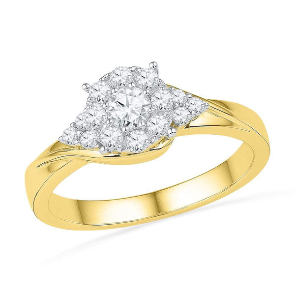 10kt Yellow Gold Womens Round Diamond Cluster Bridal Wedding Engagement Ring 1/2 Cttw