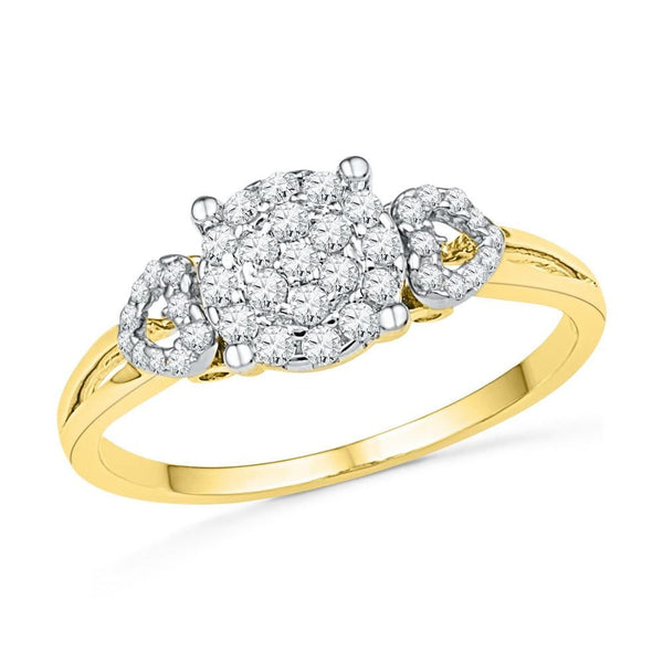 10kt Yellow Gold Womens Round Diamond Concentric Cluster Heart Ring 1/3 Cttw