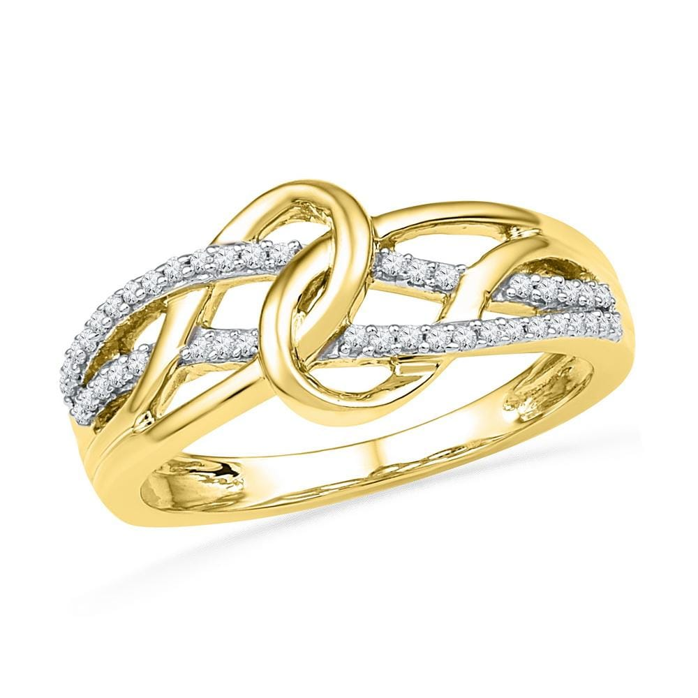10kt Yellow Gold Womens Round Diamond Infinity Loop Knot Lasso Ring 1/6 Cttw