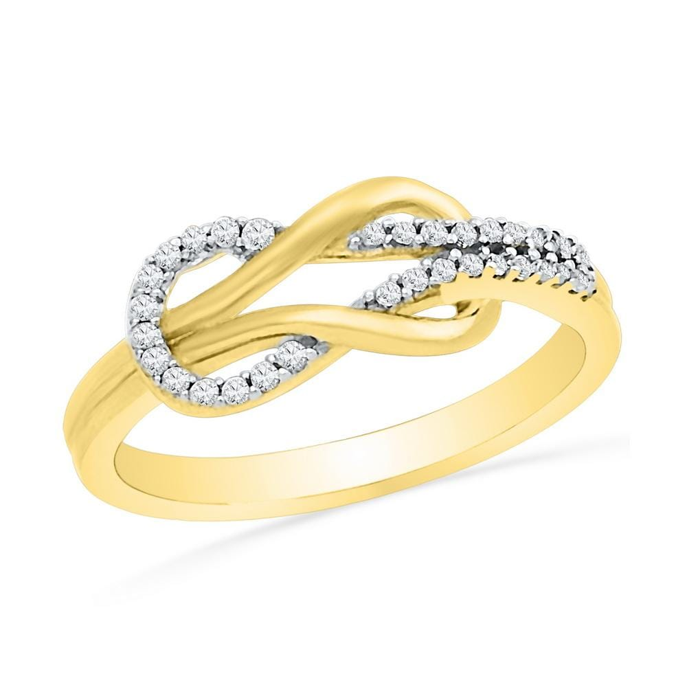 10kt Yellow Gold Womens Round Diamond Double Lasso Infinity Ring 1/6 Cttw