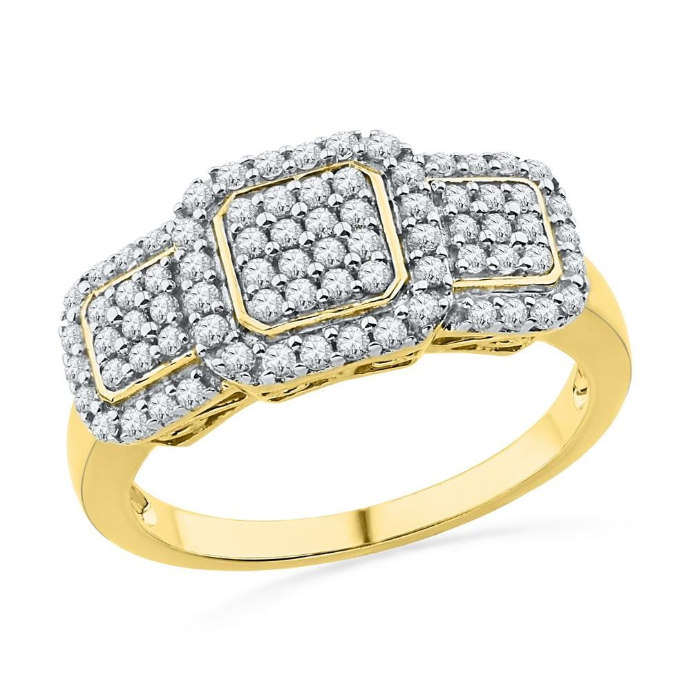 10kt Yellow Gold Womens Round Diamond Triple Frame Cluster Ring 1/2 Cttw