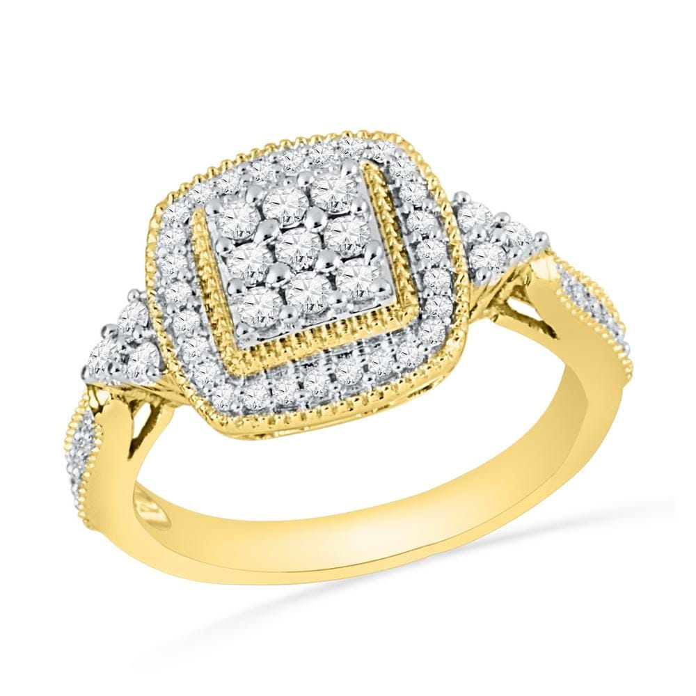 10kt Yellow Gold Womens Round Diamond Square Frame Cluster Milgrain Ring 1/2 Cttw