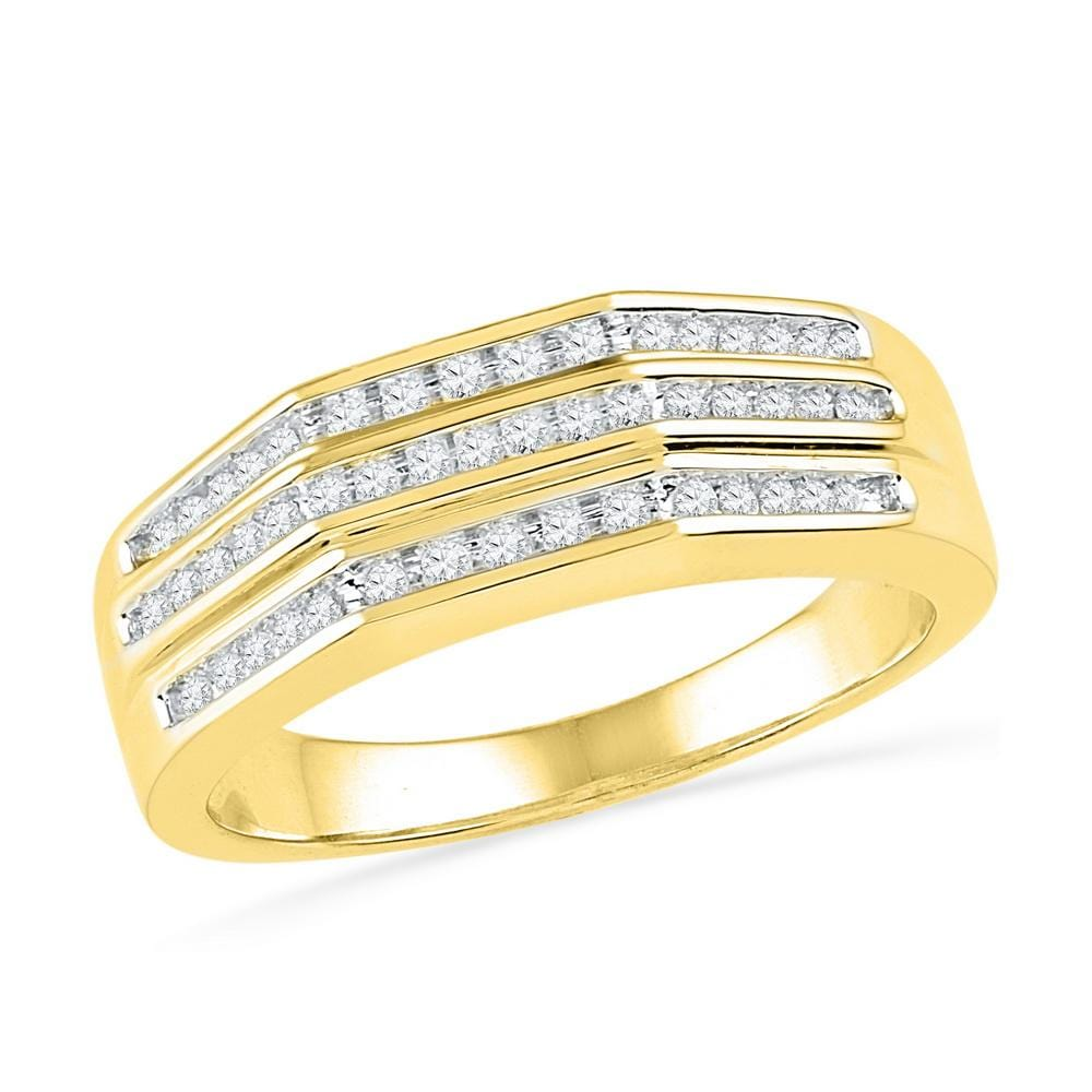10kt Yellow Gold Womens Round Diamond Flat Side Arched Band Ring 1/4 Cttw