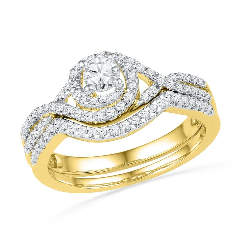 10kt Yellow Gold Womens Round Diamond Bridal Wedding Engagement Ring Band Set 5/8 Cttw