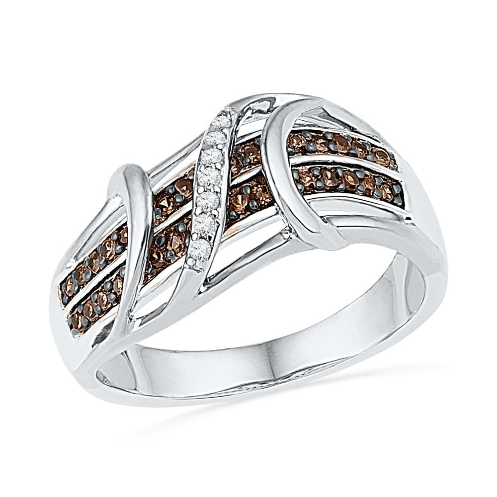 10kt White Gold Womens Round Cognac-brown Color Enhanced Diamond Crossover Strand Band 1/4 Cttw