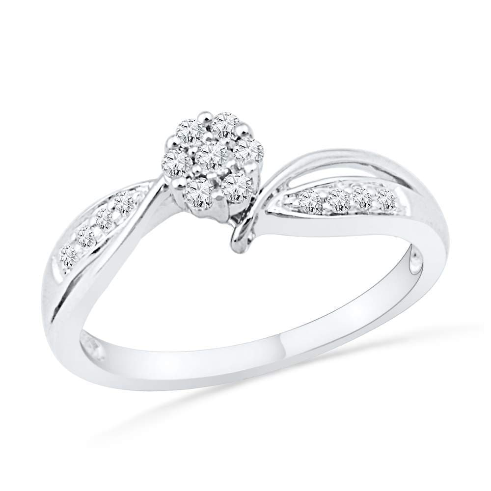 10kt White Gold Womens Round Diamond Cluster Bridal Wedding Engagement Ring 1/5 Cttw