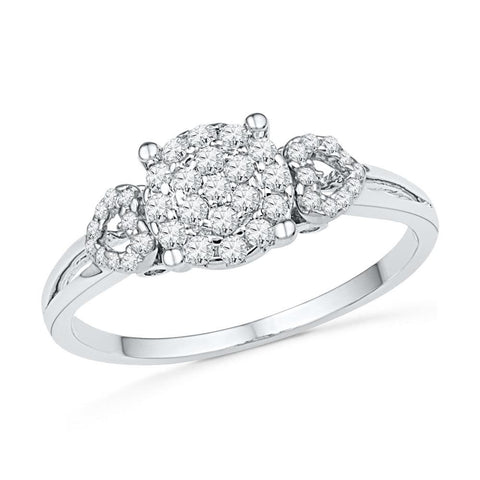 10kt White Gold Womens Round Diamond Concentric Cluster Heart Ring 1/3 Cttw