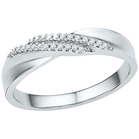10kt White Gold Womens Round Diamond Double Row Crossover Band Ring 1/10 Cttw