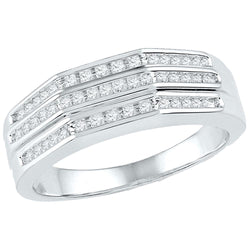 10kt White Gold Womens Round Diamond Flat Side Arched Band Ring 1/4 Cttw
