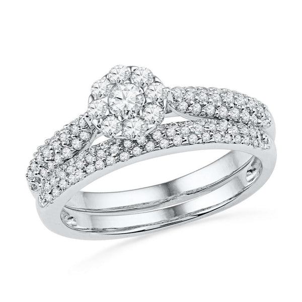 10kt White Gold Womens Round Diamond Cluster Bridal Wedding Engagement Ring Band Set 5/8 Cttw