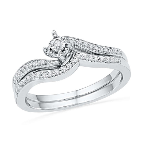 10kt White Gold Womens Round Diamond Bridal Wedding Engagement Ring Band Set 1/5 Cttw