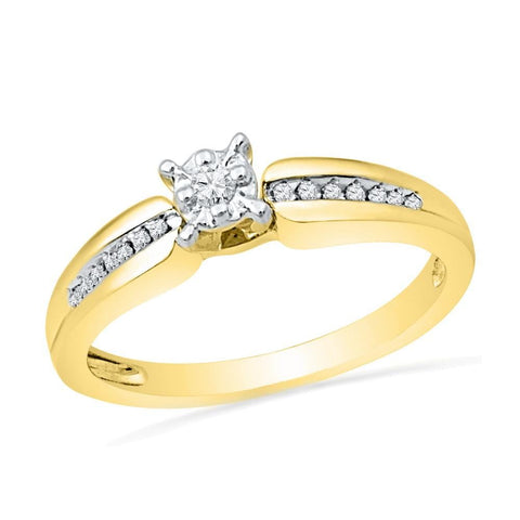 10kt Yellow Gold Womens Round Diamond Solitaire Bridal Wedding Engagement Ring 1/8 Cttw