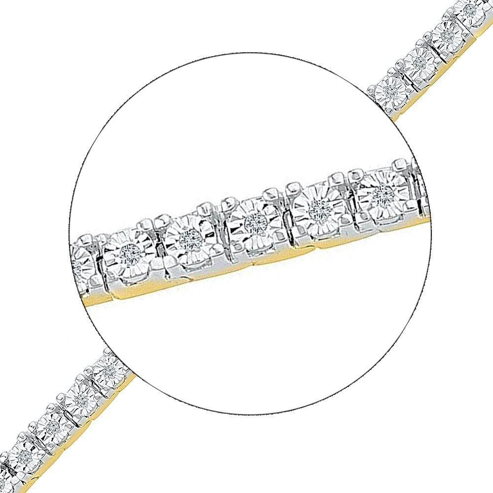 10kt Yellow Gold Womens Round Diamond Miracle Fashion Bracelet 1/4 Cttw
