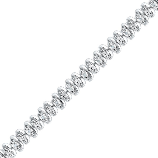 10kt White Gold Womens Round Diamond Tennis Bracelet 1/10 Cttw