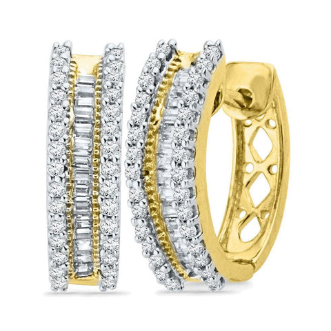 10kt Yellow Gold Womens Round Baguette Diamond Hoop Earrings 1/2 Cttw