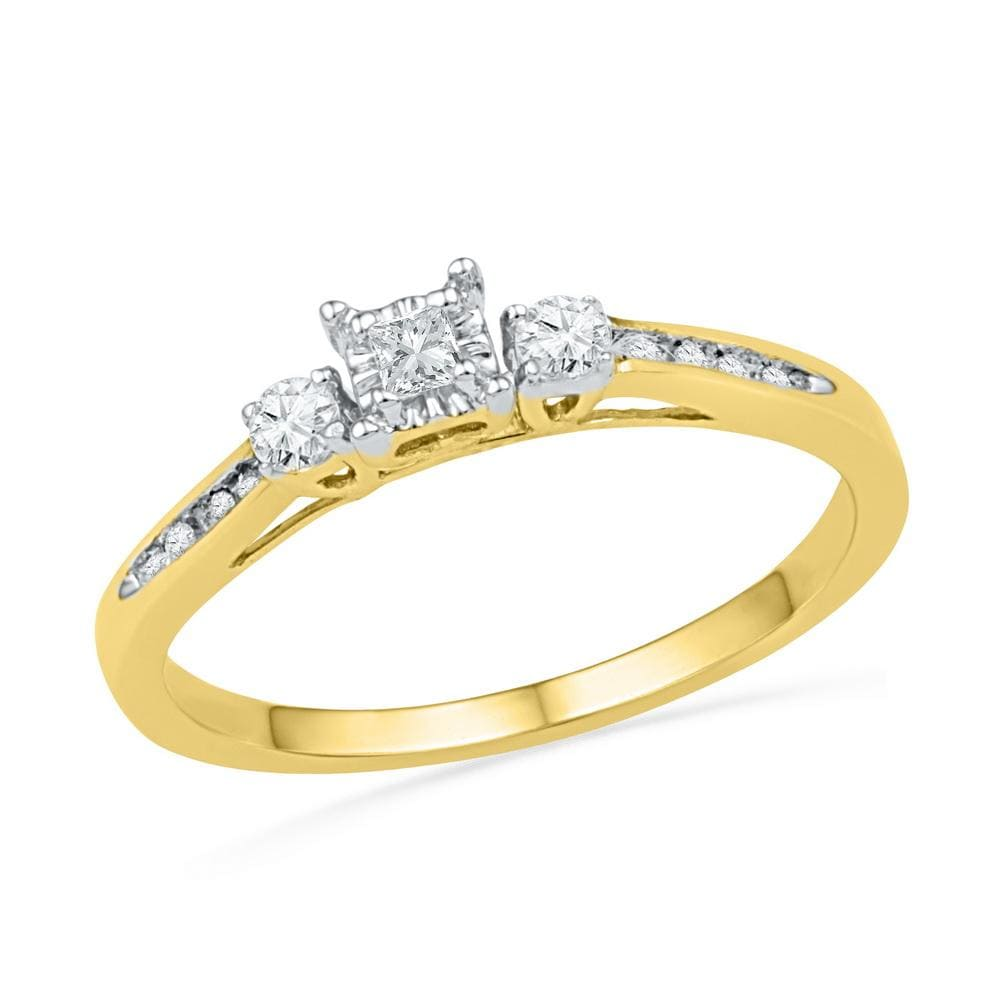 10kt Yellow Gold Womens Princess Round Diamond 3-stone Bridal Wedding Engagement Ring 1/6 Cttw