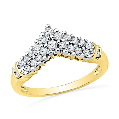10k Yellow Gold Womens Round Diamond Chevron Band Ring 1/2 Cttw
