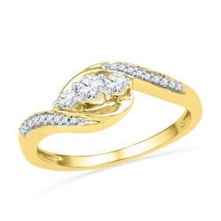 10kt Yellow Gold Womens Round Diamond 3-stone Promise Bridal Ring 1/3 Cttw
