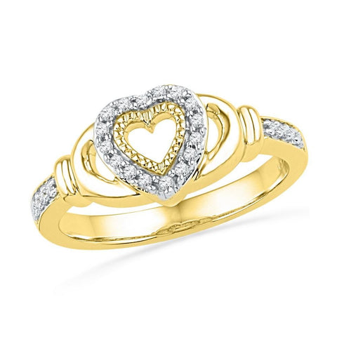 10kt Yellow Gold Womens Round Diamond Milgrain Heart Love Ring 1/8 Cttw