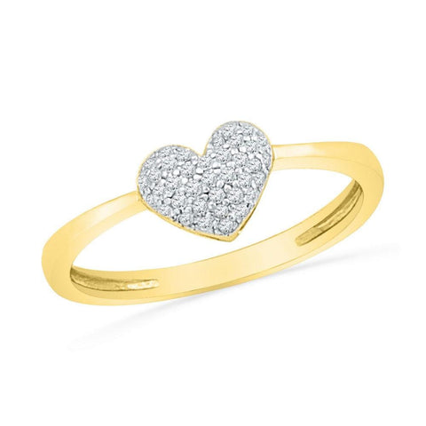 10kt Yellow Gold Womens Round Diamond Heart Cluster Ring 1/10 Cttw