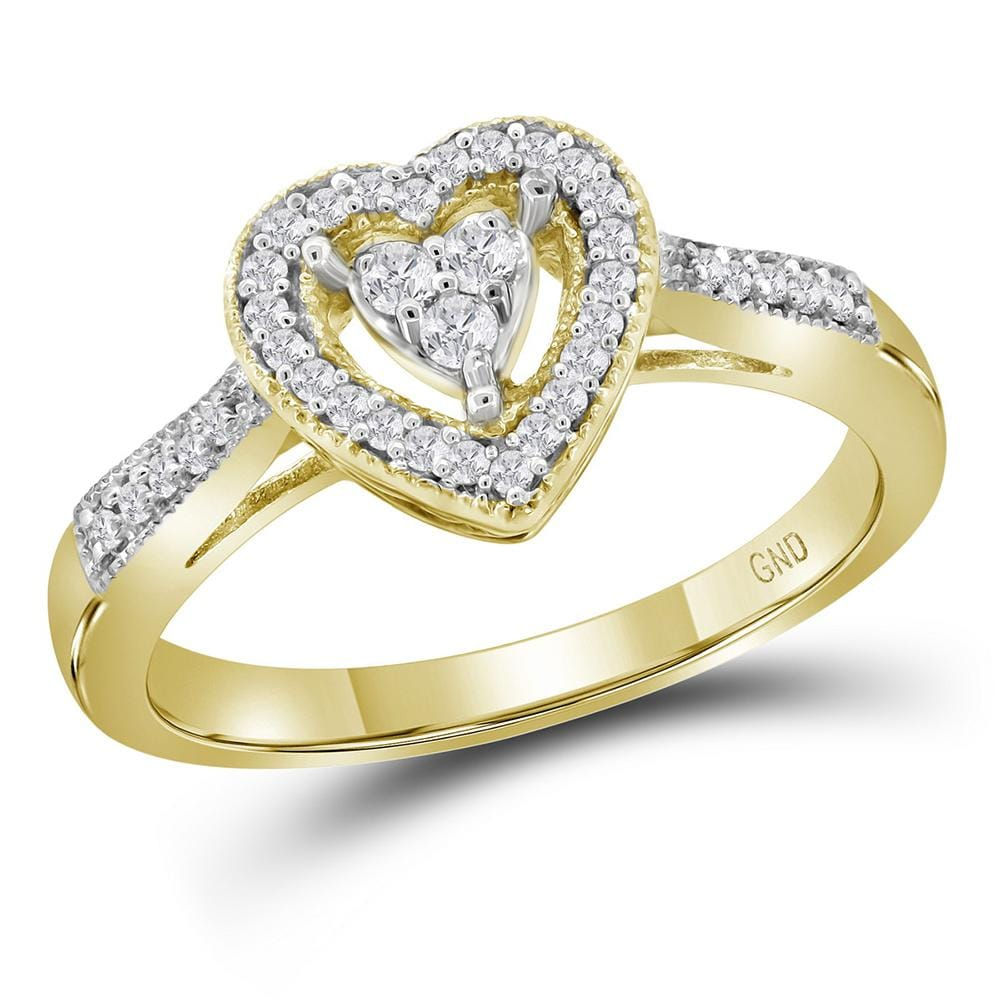 10kt Yellow Gold Womens Round Diamond Heart Cluster Ring 1/5 Cttw