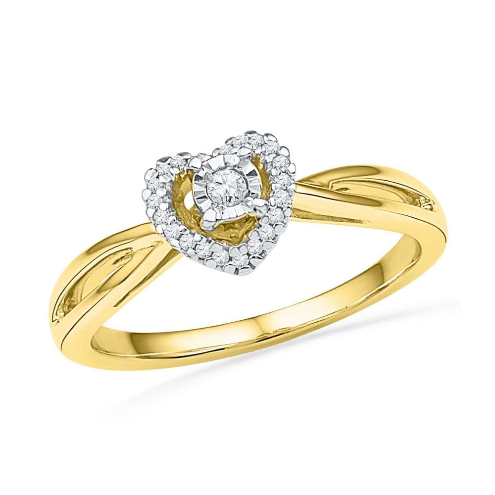 10kt Yellow Gold Womens Round Diamond Heart Love Solitaire Ring 1/8 Cttw