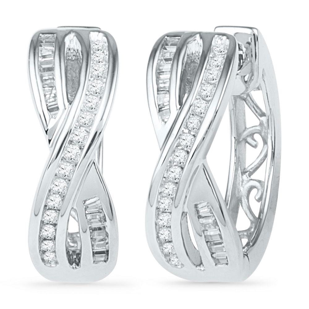 10kt White Gold Womens Round Diamond Two Row Crossover Hoop Earrings 1/4 Cttw