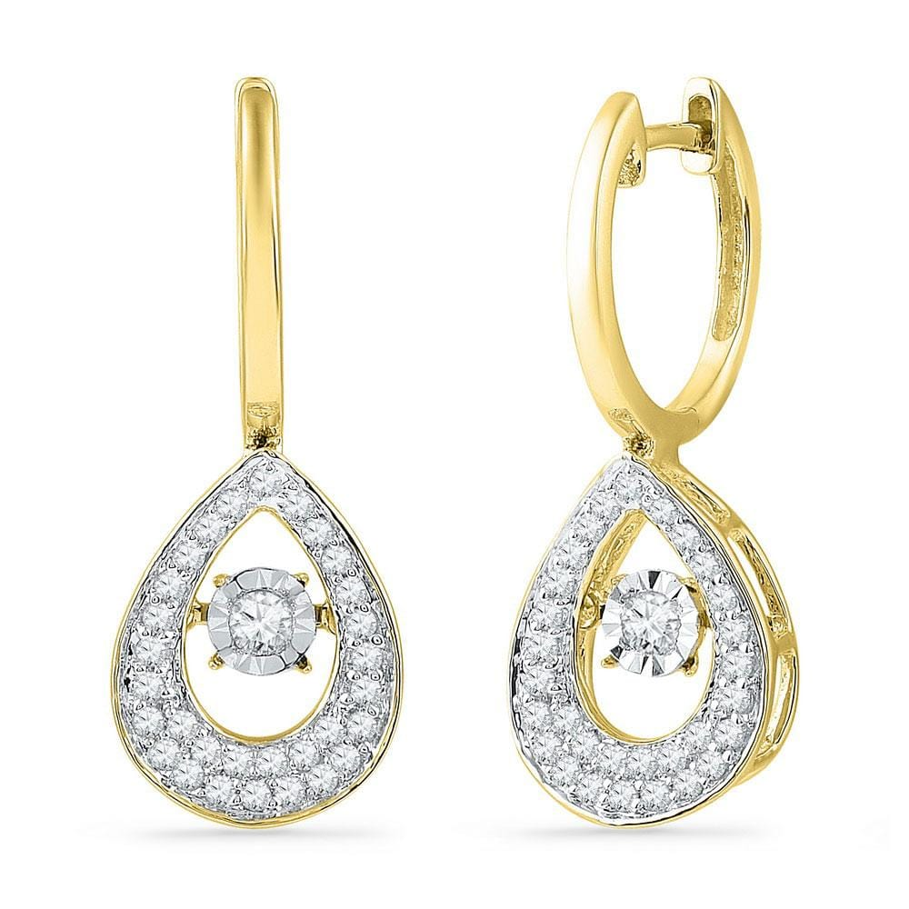 10kt Yellow Gold Womens Round Diamond Teardrop Moving Twinkle Dangle Earrings 1/2 Cttw