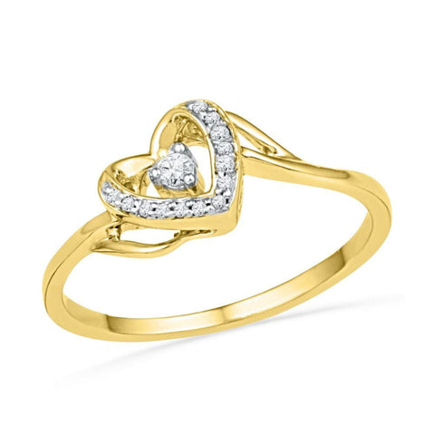 10kt Yellow Gold Womens Round Diamond Heart Love Promise Bridal Ring 1/12 Cttw