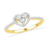10kt Yellow Gold Womens Round Diamond Slender Framed Heart Cluster Ring 1/4 Cttw