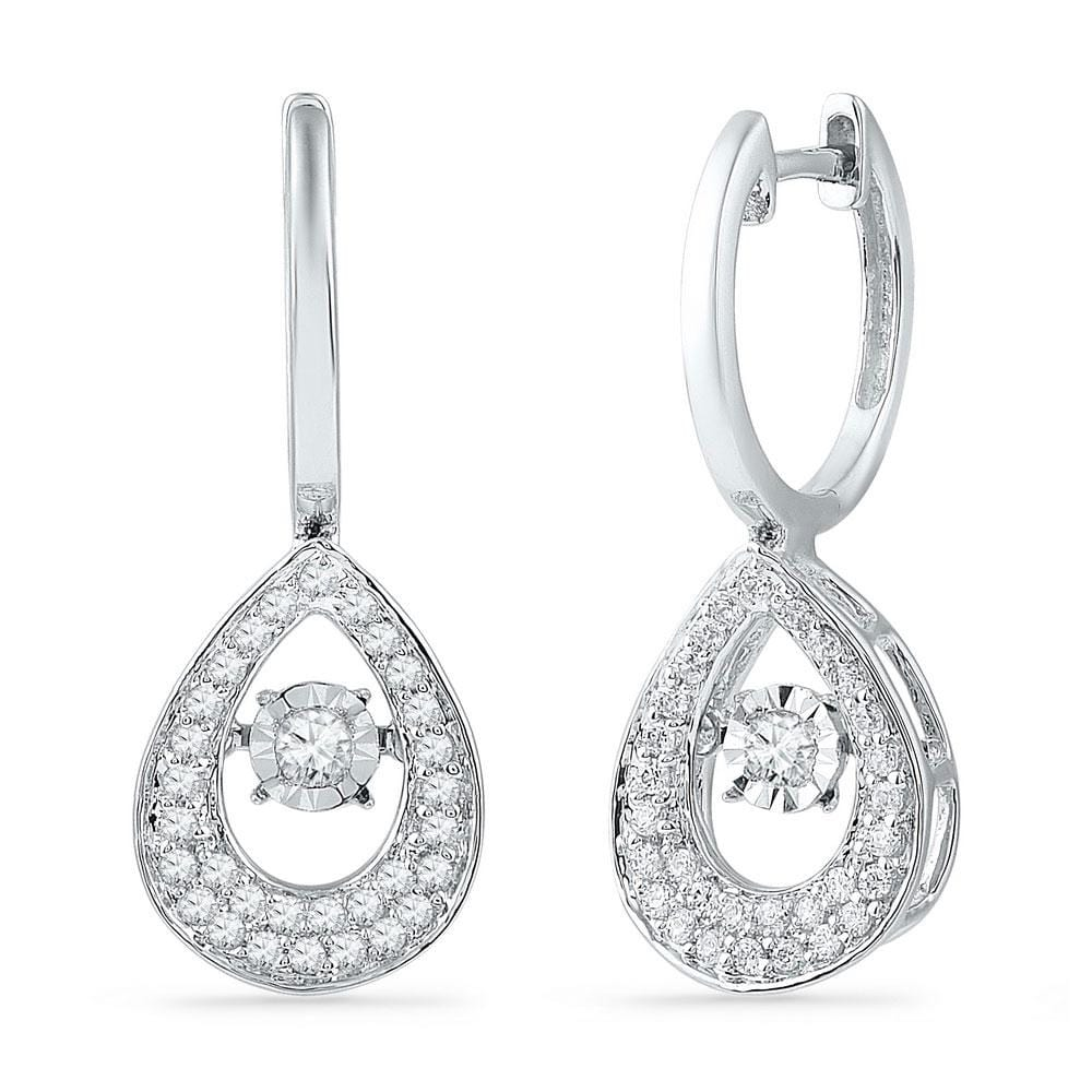 10kt White Gold Womens Round Diamond Teardrop Moving Twinkle Dangle Earrings 1/2 Cttw