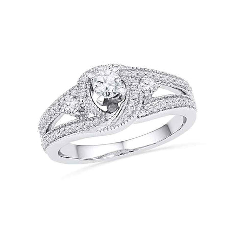 10k White Gold Womens Round Diamond Bridal Wedding Engagement Anniversary Ring 1/2 Cttw
