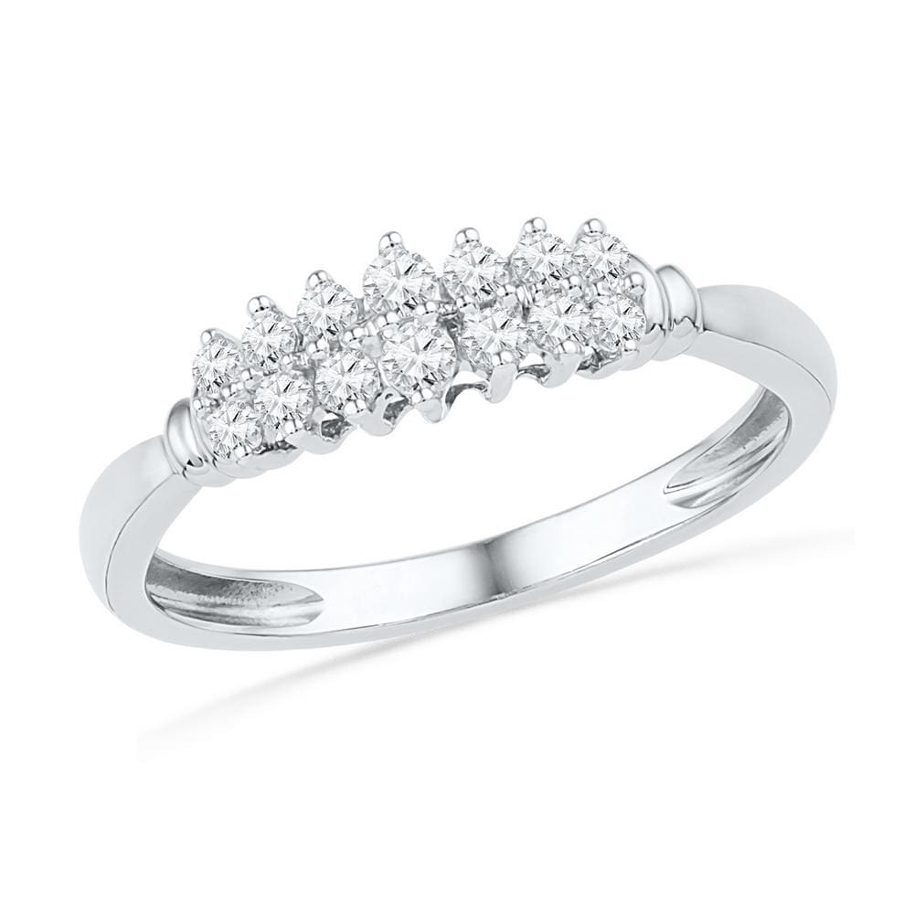 10kt White Gold Womens Round Prong-set Diamond Double Row Band 1/4 Cttw