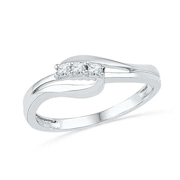 10kt White Gold Womens Round Diamond 3-stone Bridal Wedding Engagement Ring 1/10 Cttw