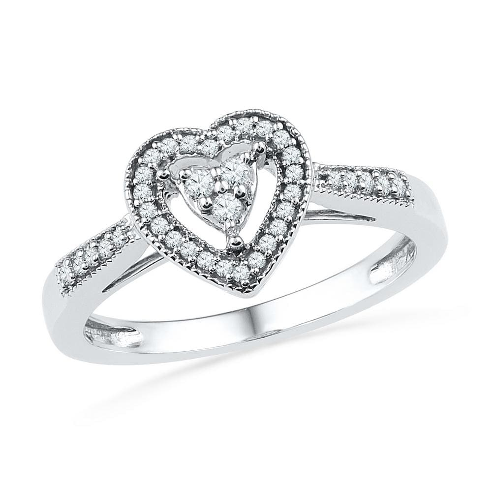 10kt White Gold Womens Round Diamond Heart Cluster Ring 1/5 Cttw