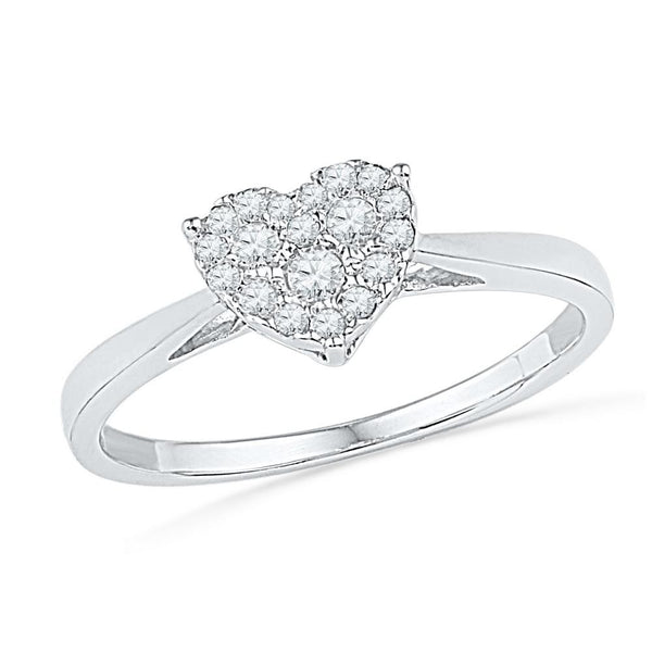 10kt White Gold Womens Round Diamond Simple Heart Cluster Ring 1/6 Cttw
