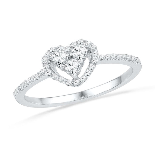 10kt White Gold Womens Round Diamond Slender Framed Heart Cluster Ring 1/4 Cttw