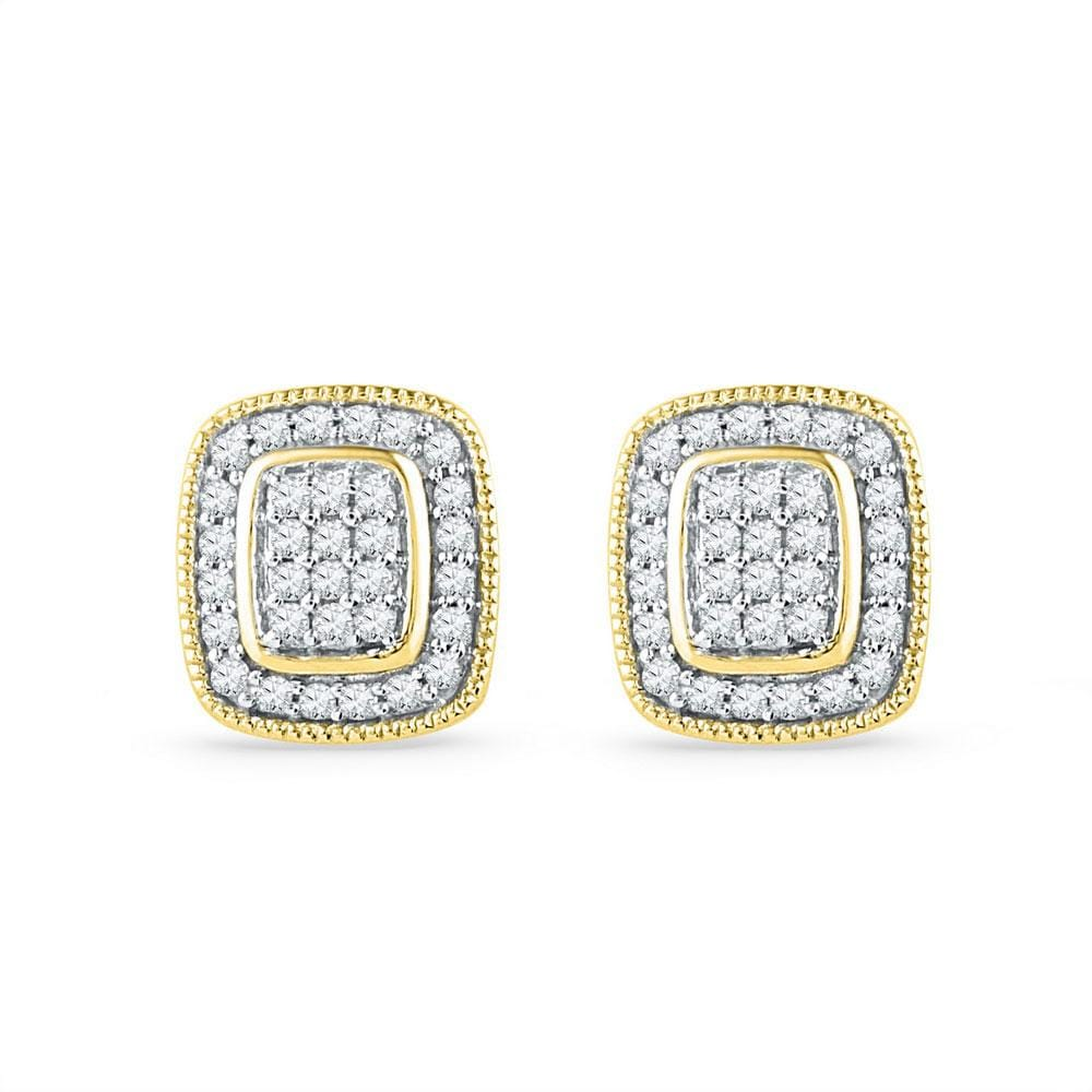 10kt Yellow Gold Womens Round Diamond Square Cluster Stud Earrings 1/4 Cttw