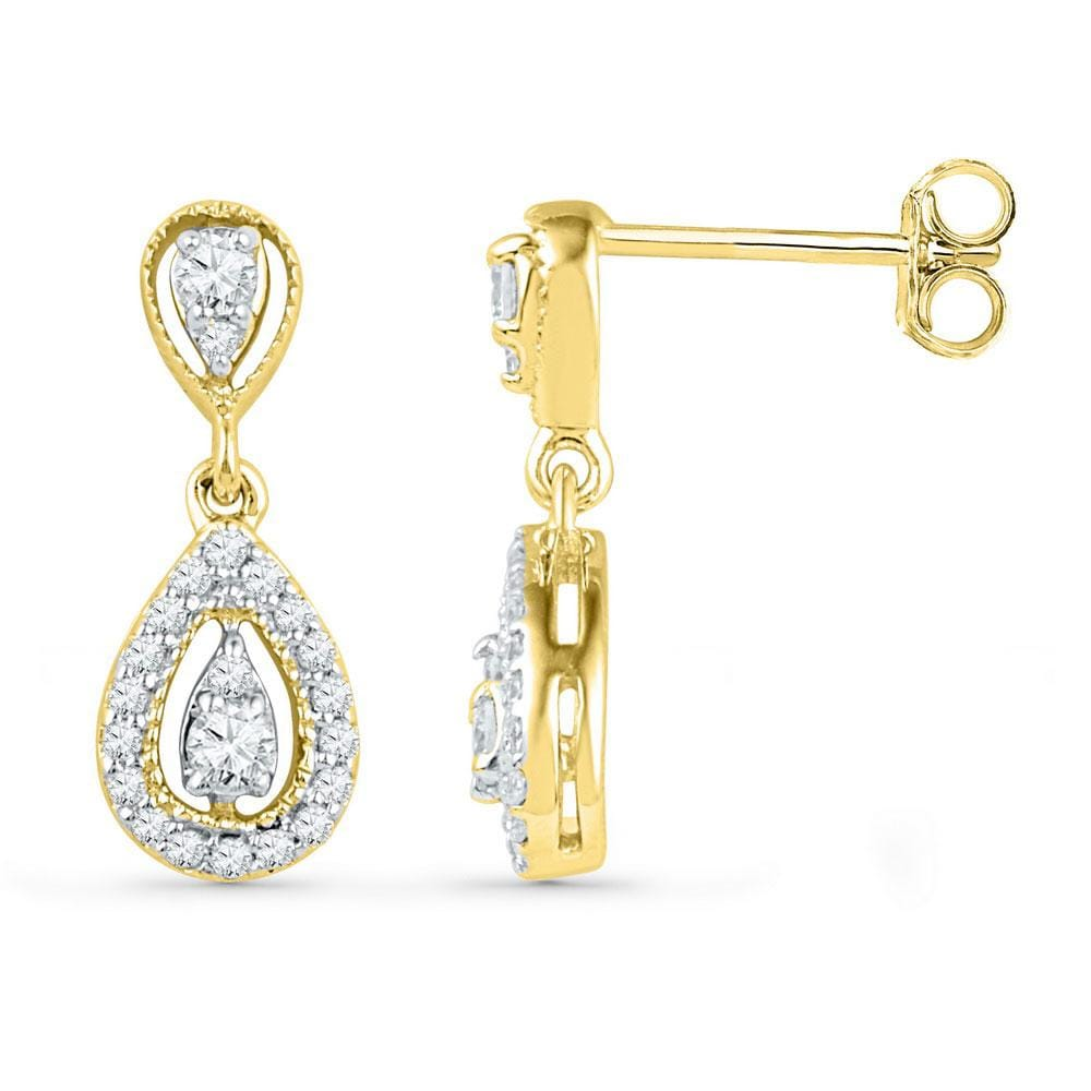 10kt Yellow Gold Womens Round Diamond Teardrop Dangle Screwback Earrings 1/3 Cttw
