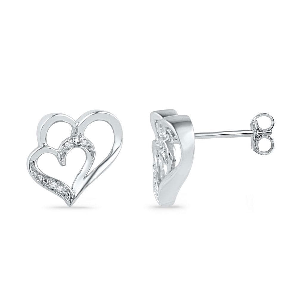 10kt White Gold Womens Round Diamond Heart Love Earrings .03 Cttw