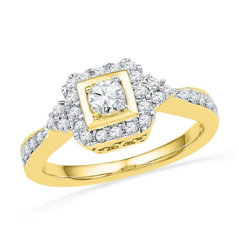 10k Yellow Gold Womens Round Diamond Bridal Wedding Engagement Anniversary Ring 1/2 Cttw
