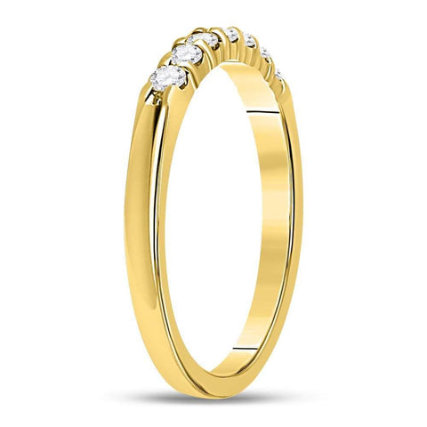 14kt Yellow Gold Womens Round Diamond Single Row Comfort Wedding Band 1/4 Cttw