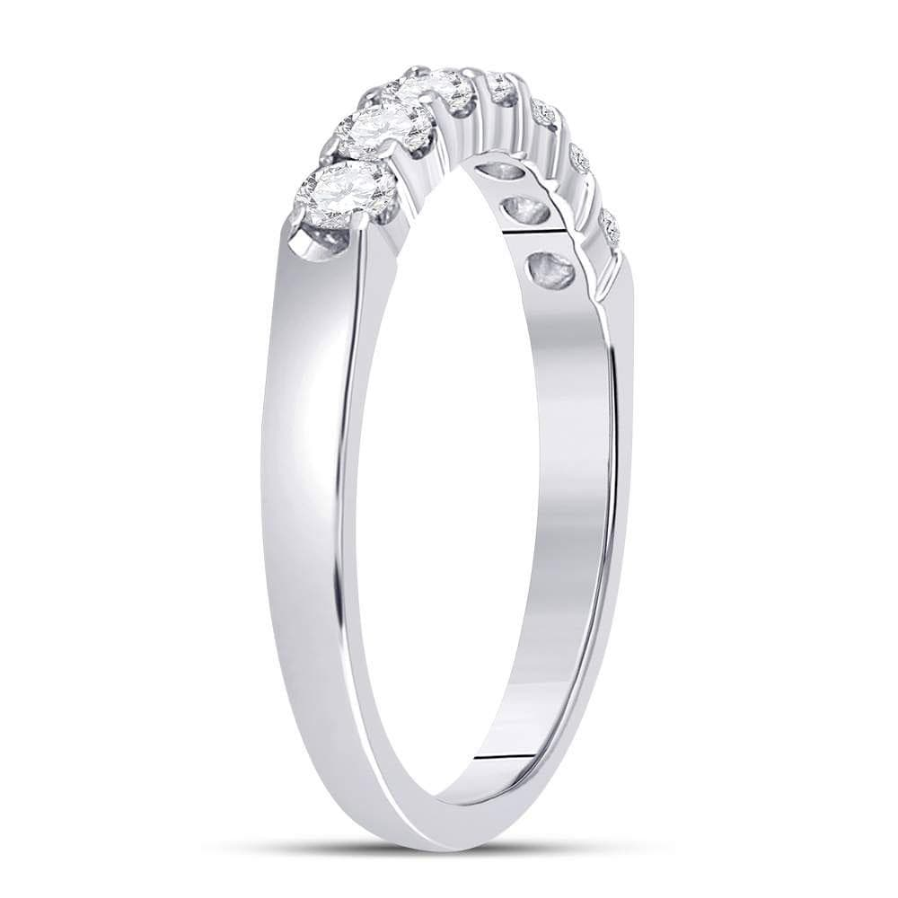 14kt White Gold Womens Round Diamond Single Row Machine-set Wedding Band 1/2 Cttw
